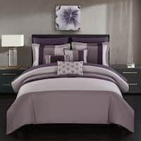 Chic Home Ayelet 10 Piece Comforter Set Color Block Ruffled Bed in a Bag Plum Plum Bedding, Ruffle Bedding, Lavender Comforter, Navy Comforter, Queen Comforter Sets, Bedding Sets, Online Bedding Stores, Bed In A Bag, Bed Sizes
