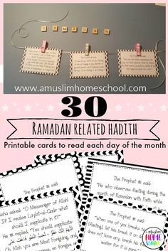 printable hadith cards to read each day of Ramadan with your family Ramadan Tips, Ramadan Cards, Mubarak Ramadan, Ramadan Day, Ramadan Recipes, Quotes Ramadan, Ramadan Prayer, Hadith, Alhamdulillah