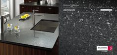 Silestone Zirconium I hope Jason and I can eventually afford to get these counter tops. The light speckles are actually mirrored. Quartz Slab, Quartz Countertops, Kitchen Countertops, Countertop Materials, Material Design, Surface Design, Sink, Home And Garden, Counter Tops