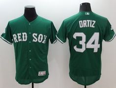 red sox 34 david ortiz green celtic flexbase authentic collection stitched mlb jersey
