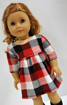 Red, Cream and Black Buffalo Plaid Dress made to fit American Girl Doll  18 Inch Doll Clothes