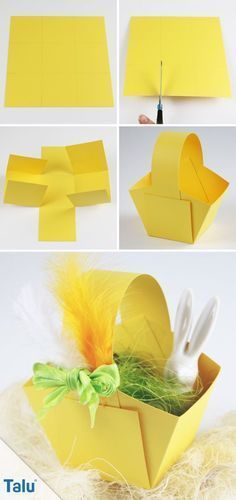 Make Easter baskets - Instructions + templates for Easter eggs - DIY-Ideen - Basteln und Gestalten - Paper Easter Art, Easter Crafts, Easter Eggs, Diy For Kids, Crafts For Kids, Easter Baskets To Make, Spring Crafts, Happy Easter, Diy Gifts
