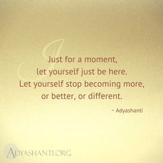Just for a moment, let yourself just be here. Let yourself stop becoming more, or better, or different. ~ Adyashanti