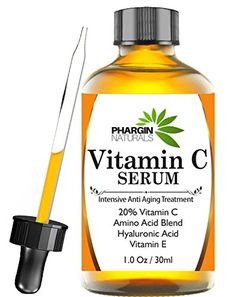 Phargin Naturals Enhanced Vitamin C Serum with Hyaluronic Acid 1 Oz  Anti Wrinkle Anti Aging Repairs Dark Circles Fades age spots  Sun Damage  20 Vitamin C Super Strength  Organic  Natural >>> Read more reviews of the product by visiting the link on the image. #DarkSpotSkinProduct