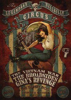 pin-up girl, circus, country Concert poster art #music