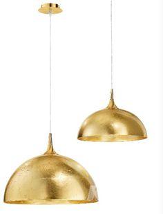 Dome lampa wisząca 1x100W E27 50cm złoto/płatki złota
