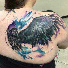 Got this beautiful piece of art yesterday :) #tattoos #raven #watercolortattoo #mikeshultz #inktherapy #ink #beautiful #wing #bird #color
