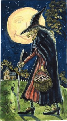 Halloween Witch Painting Print Witches, Halloween lover, spooky – the bobbi becker gallery Witch Painting, Witch Drawing, Halloween Painting, Witch Art, Halloween Art, Vintage Halloween, Halloween Witches, Happy Halloween, Anime Halloween