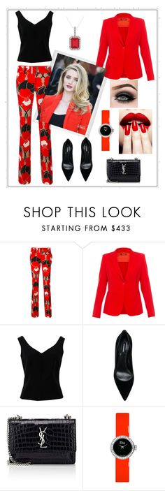 """Red blazer"" by sandratb ❤ liked on Polyvore featuring MaxMara, ADAM, Dsquared2, Yves Saint Laurent, Polaroid, Christian Dior, Ultimate, Allurez and ASAP"