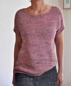 """Say hello to summer! A flattering, boxy shaped Tee, comfortable to wear, with a touch of elegance.It's worked seamlessly from the top down in one piece (using some short rows :). Best in a plant based yarn.For summer I had the pleasure to work with """"TamTam DK"""", the wonderful new yarn base (65% Silk, 35% Linen) from Frida Fuchs.APPROX. YARN REQUIREMENTS Number of skeins of Tamtam MC: 3 (3, 4, 4, 5, 5) Or m/yds: 680/740 (730/800, 800/875, 910/1000, 1020/1120, 115..."""