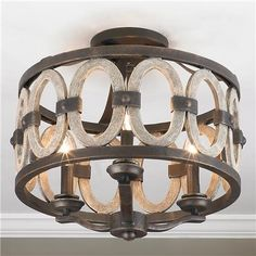 Driftwood Entwined Ovals Ceiling Light