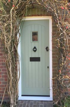 Our bespoke timber doors are perfect for period properties or modern homes, available in numerous wood types, colours and finishes to suit your liking. Country Front Door, Cottage Front Doors, Green Front Doors, Cottage Door, Painted Front Doors, House Front Door, Front Door Colors, Country Hallway, Tudor Cottage