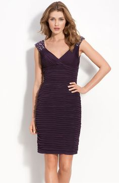 Xscape Beaded Ruched Sheath Dress available at #Nordstrom