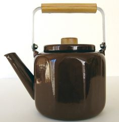 Vintage Enamel Kettle with Wood Handle by MarketHome on Etsy, $24.00