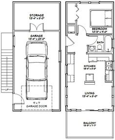 PDF house plans, garage plans, shed plans. Garage Apartment Plans, Garage Apartments, Small Apartment Plans, Tiny House Layout, House Layouts, Cabin Floor Plans, Small House Plans, Tiny Home Floor Plans, Garage House