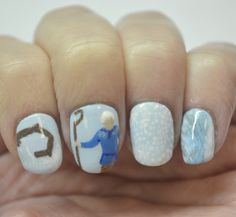 Challenge Your Nail Art 12 Days of Christmas, Day 5-ice blue and white colors (inspired by Jack Frost from Rise of the Guardians)