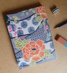 Hand bound notebook, geometric floral Coptic stitch bullet journal or sketchbook, statement spring flowers print by TheCraftFantastic on Etsy Orange Flowers, Spring Flowers, Pocket Books, Blank Book, Bullet Journal Inspiration, Journal Notebook, Flower Prints, Hand Stitching, Notebooks