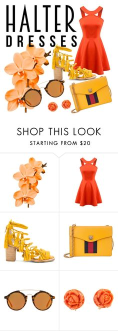 """""""Untitled #38"""" by kebirova ❤ liked on Polyvore featuring Chicnova Fashion, Jeffrey Campbell, Gucci, MANGO and halterdresses"""