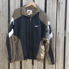 Vintage Mens Nike Windbreaker Jacket Full Zip Black and Tan - SZ L by TomieHarleneVintage on Etsy