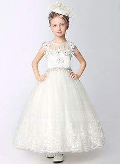 [US$ 62.39] A-Line/Princess Ankle-length Flower Girl Dress - Dacron Sleeveless Scoop Neck With Lace/Beading/Flower(s)/Rhinestone (010092271)