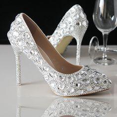escarpin pas cher chaussures femme de soirée aux strass scintillants à talon aiguille