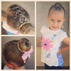 Today we did a style inspired by all the posts I have seen this morning! We did a Rapunzel (corset dress) inspired front with a Cinderella bun! Baby Girl Hairstyles, Princess Hairstyles, Pretty Hairstyles, Braided Hairstyles, Toddler Hairstyles, Updo Hairstyle, Braided Updo, Prom Hairstyles, Gymnastics Hair