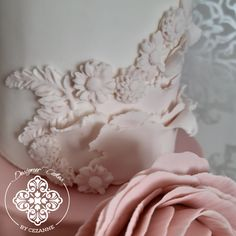 Close-up of the bas-relief detail on this romantic wedding cake Textured Wedding Cakes, How To Make Cake, Cake Designs, Fondant, Icing, Romantic, Detail, Cake Templates, Fondant Icing