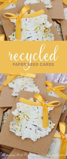Recycled Paper Seed Cards are so easy to make at home!  Recipients can plant and enjoy lovely flowers!