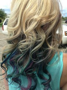 Peacock colors purple blue teal aqua with blonde hair