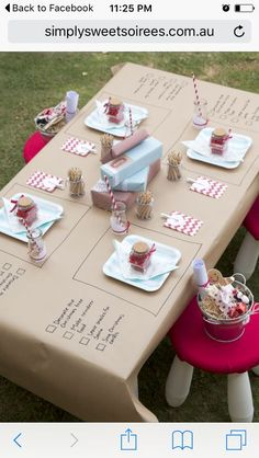 its not my pin. but I love the idea of using craft paper. this can be done for everything: even wedding dinners, with glitter and gold. all is persomalized. I just love it!