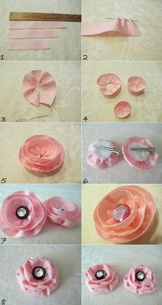Make 2 in 1 Fabric Ribbon Flower Hair Clip DIY Ribbon Flowers