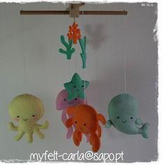Mobile pour berceau, mobile bébé, mobile décoration, mobile feutrine, animaux marins