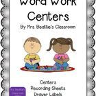Word Work Centers and Storage Labels