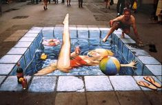 *Chalk street art...play in the pool