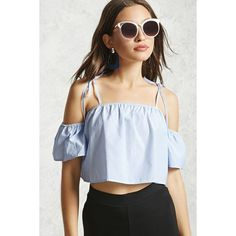 d55af4ac32a78a Forever21 Open-Shoulder Crop Top ($15) ❤ liked on Polyvore featuring tops,