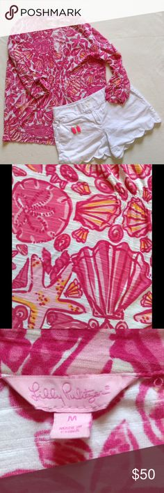 """Lilly Pulitzer """"Sailor's Valentine"""" pink shirt Beautiful pattern. Sailor's Valentine pink. Has seashells and crabs on it. Great top for all seasons! 3/4 sleeves with gold button.  Rouched in the middle to accentuate shape. Size medium. Lilly Pulitzer Tops Blouses"""
