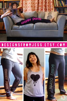 Feeling Cranky? Got some sass? Get your cranky pants or sassy pants or any other pants at Designs from Jess! Loungewear that will keep you laughing and keep you cozy! Your new go to comfy pants. Get the standard or create your own! Click here now