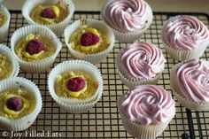 Raspberry Lemonade Cupcakes - Lemon cupcakes filled with lemon curd & raspberries & topped with a light & fluffy raspberry buttercream? Sign me up. Low Carb, Grain/Gluten/Sugar Free, THM S.