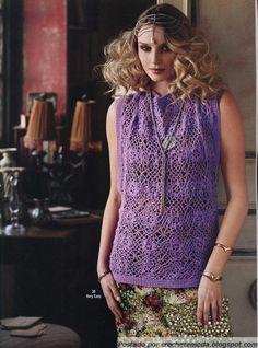 Crochet - Blusa Roxa, no pattern