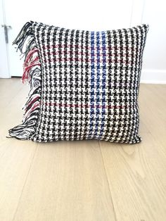 Handwoven Pinwheel Pillow in Black White and Navy by Michaela Whitney