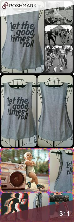 Wide-side Graphic Tank Heather gray tank w/ wide-side opening. Light-weight material. Perfect w/ a bandeau or bikini top underneath! NWOT 63% Polyester / 35% Rayon LOL Vintage Tops Tank Tops