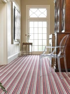 Brockway Portofino Rosso Stripe - photo courtesy of Brockway Carpets Carpet Flooring, Rugs On Carpet, Striped Carpets, Carpet Fitting, Victorian Living Room, Hall House, Cost Of Carpet, Moving Furniture, Green Colour Palette