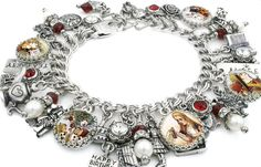 """$138____  Pearl Charm Bracelet Alice in Wonderland-  5 vintage images from the 1920's of Alice with Drink Me Bottle, Mad Hatter, White Rabbit, Cards """"painting the roses red"""", and Queen of Hearts.  15 pewter and silver plated charms of Cheshire Cat, Alice, Mad Hatter, White Rabbit in Waistcoat, White Rabbit in Court costume, Lock, Pocket Watch, Birthday Cake, Tea Pot, Rose, Queen of Hearts, Butterfly, Book, Garden Gate, 2 stamped tags """"Alice"""" """"Tea Party"""""""