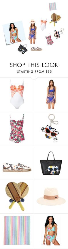 """""""Floral Swimsuit..**"""" by yagna ❤ liked on Polyvore featuring Evarae, FUZZI, Dolce&Gabbana, Karl Lagerfeld, Frescobol Carioca, Maison Michel, Las Bayadas, Post-It, Boohoo and vintage"""