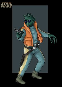 Greedo:  Was a male Rodian bounty hunter. He lived in Mos Espa alongside the young Anakin Skywalker and W. Wald circa 32 BBY. Although his father had been an esteemed hunter, and the chief rival of Navik the Red, the younger Greedo had little of his father's prowess and was easily killed by Han Solo in Chalmun's Spaceport Cantina on Tatooine.