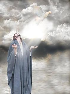 Blessed by the Holy Spirit, Dove, Jesus prophetic art. King Jesus, Jesus Is Lord, Image Jesus, Pictures Of Jesus Christ, Religious Pictures, Jesus Christus, Saint Esprit, A Course In Miracles, Son Of God