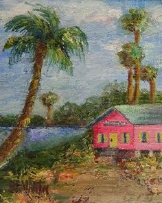 "Original Coastal Landscape Painting ,Palm Tree, Pink House Art ""Island Life"" by Florida Impressionism Artist Annie St. Martin"