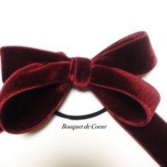 ハンドメイドアクセサリー ベルベット ワインレッドリボンゴム♡  http://s.ameblo.jp/bouquet-de-coeur/  Handmade red velvet ribbon hair accessory