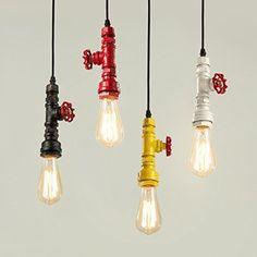JJ Moderno LED luci pendente Fixture American village loft retrò vento industriale lampadario singolo colore testa di tubi di ferro lampadari, bianco [edison],220V-240V