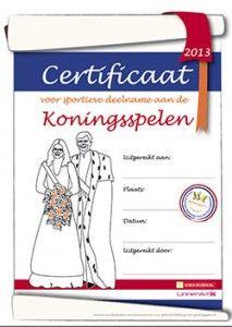De eerste Koningsspelen in 2013 - Koningsspelenpakket certificaat